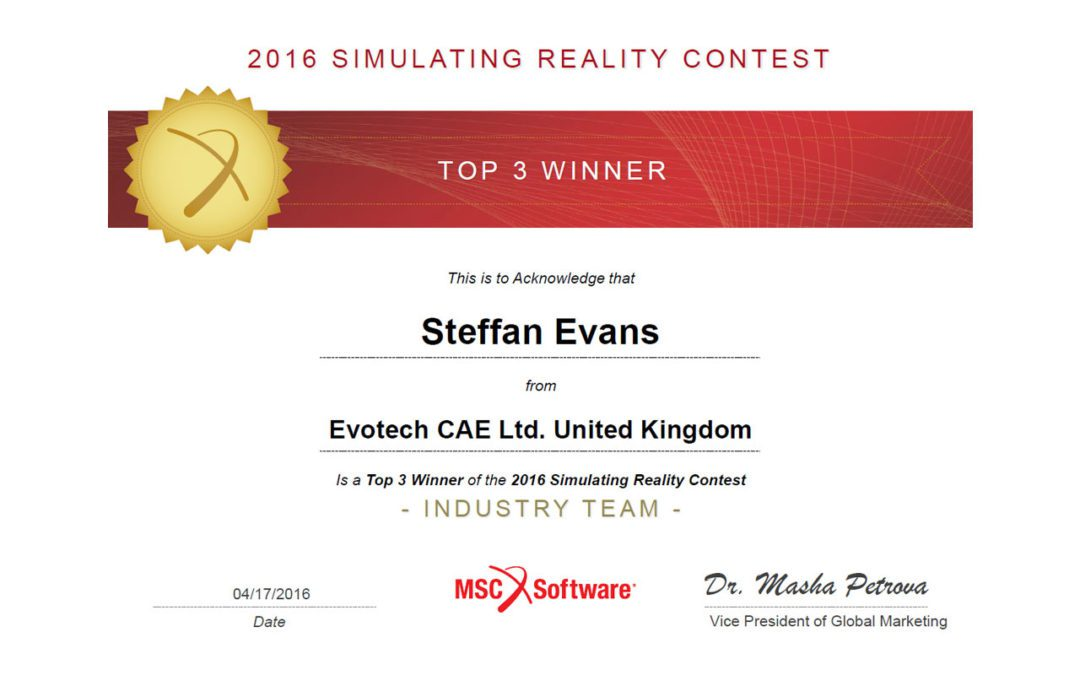 Evotech CAE wins Simulating Reality Contest